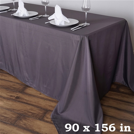 "90 x 156"" Charcoal Grey Wholesale Polyester Banquet Linen Wedding Party Tablecloth"