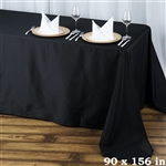 "90x156"" Seamless Value Plus Polyester Tablecloth - Black"
