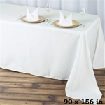 "90x156"" Seamless Value Plus Polyester Tablecloth - Ivory"
