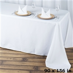 "90x156"" Seamless Value Plus Polyester Tablecloth - White"