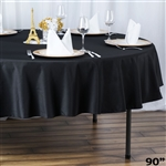 "90"" Seamless Value Plus Polyester Round Tablecloth - Black"