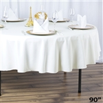"90"" Seamless Value Plus Polyester Round Tablecloth - Ivory"