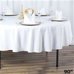 "90"" Seamless Value Plus Polyester Round Tablecloth - White"