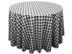 "Perfect Picnic Inspired Black/White Checkered 108"" Round Polyester Tablecloths"