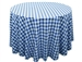 "Perfect Picnic Inspired Blue/White Checkered 108"" Round Polyester Tablecloths"