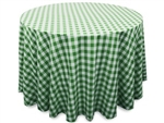 "Perfect Picnic Inspired Green/White Checkered 108"" Round Polyester Tablecloths"