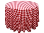 "Perfect Picnic Inspired Red/White Checkered 108"" Round Polyester Tablecloths"