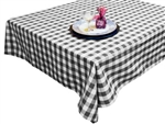 "Perfect Picnic Inspired Black/White Checkered 54""x54"" Square Polyester Tablecloths"