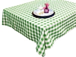 "Perfect Picnic Inspired Green/White Checkered 54""x54"" Square Polyester Tablecloths"