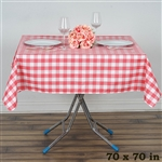 "70"" Square Checkered Gingham Polyester Linen Dinner Tablecloth - Coral & White"