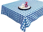 "Perfect Picnic Inspired Blue/White Checkered 70""x70"" Square Polyester Tablecloths"