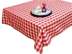 "Perfect Picnic Inspired Red/White Checkered 70""x70"" Square Polyester Tablecloths"