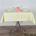 "70"" Square Checkered Gingham Polyester Linen Dinner Tablecloth - Yellow & White"