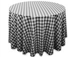 "Perfect Picnic Inspired Black/White Checkered 90"" Round Polyester Tablecloths"