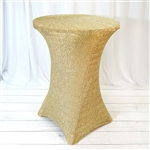 Champagne Metallic Shiny Glittered Spandex Cocktail Table Cover