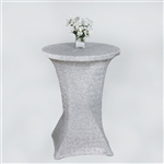 Cocktail Metallic Spandex Table Cover - Silver