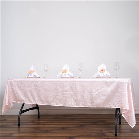 Blush Crinkle Taffeta Tablecloth 60x102""