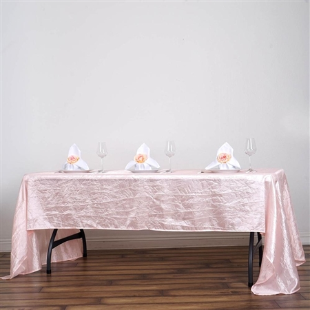 Blush Crinkle Taffeta Tablecloth 60x126""