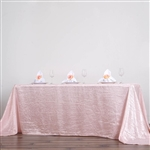 Blush Crinkle Taffeta Tablecloth 90x132""