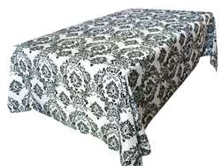 "90x132"" Black Flocking Damask Tablecloth"