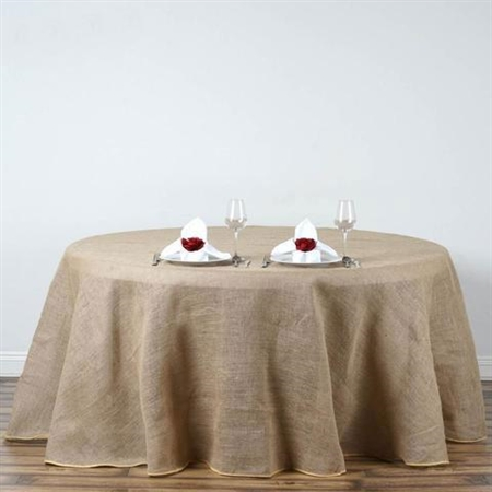 "132"" Eco-Friendly Natural Rustic Burlap Jute Round Tablecloth"