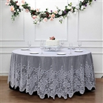 "120"" Premium Elegant Lace Round Tablecloth - White"