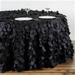 "120"" Round Petals Circle (Flamingo) Tablecloth - Black"