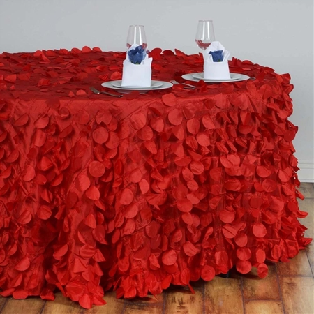 "120"" Round Petals Circle (Flamingo) Tablecloth - Red"