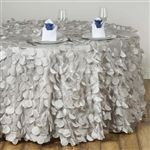 "120"" Round Petals Circle (Flamingo) Tablecloth - Silver"