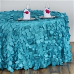 "120"" Round Petals Circle (Flamingo) Tablecloth - Turquoise"