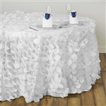 "120"" Round Petals Circle (Flamingo) Tablecloth - White"