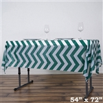 "54""x72"" Hunter Green Wholesale Waterproof Chevron Plastic Vinyl Tablecloth"