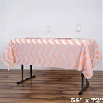 "54""x72"" Blush Wholesale Waterproof Chevron Plastic Vinyl Tablecloth"
