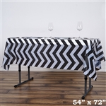 "54""x72"" Black Wholesale Waterproof Chevron Plastic Vinyl Tablecloth"