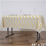 "54""x72"" Champagne Wholesale Waterproof Chevron Plastic Vinyl Tablecloth"