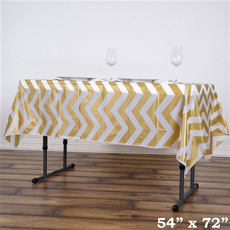 "54""x72"" Gold Wholesale Waterproof Chevron Plastic Vinyl Tablecloth"