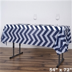 "54""x72"" Navy Blue Wholesale Waterproof Chevron Plastic Vinyl Tablecloth"