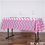 "54""x72"" Pink Wholesale Waterproof Chevron Plastic Vinyl Tablecloth"