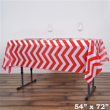 "54""x72"" Red Wholesale Waterproof Chevron Plastic Vinyl Tablecloth"