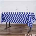 "54""x72"" Royal Blue Wholesale Waterproof Chevron Plastic Vinyl Tablecloth"