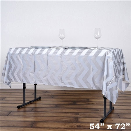 "54""x72"" Silver Wholesale Waterproof Chevron Plastic Vinyl Tablecloth"
