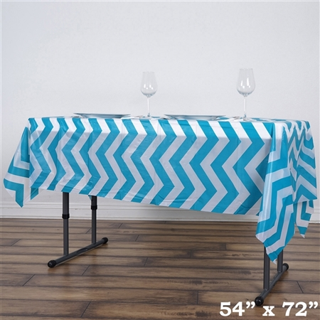 "54""x72"" Turquoise Wholesale Waterproof Chevron Plastic Vinyl Tablecloth"