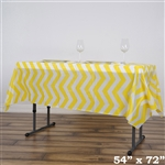 "54""x72"" Yellow Wholesale Waterproof Chevron Plastic Vinyl Tablecloth"