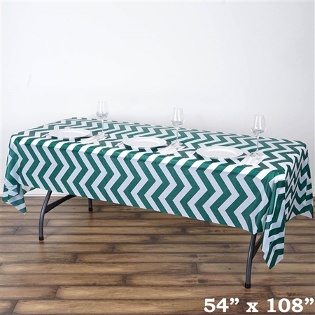 "54"" x 108"" Hunter Green Wholesale Waterproof Chevron Plastic Vinyl Tablecloth"