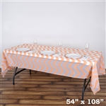 "54"" x 108"" Blush Wholesale Waterproof Chevron Plastic Vinyl Tablecloth"