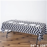 "54"" x 108"" Black Wholesale Waterproof Chevron Plastic Vinyl Tablecloth"