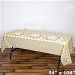 "54"" x 108"" Champagne Wholesale Waterproof Chevron Plastic Vinyl Tablecloth"
