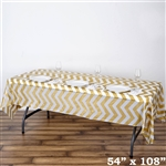 "54"" x 108"" Gold Wholesale Waterproof Chevron Plastic Vinyl Tablecloth"