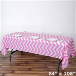 "54"" x 108"" Pink Wholesale Waterproof Chevron Plastic Vinyl Tablecloth"