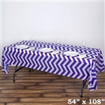 "54"" x 108"" Purple Wholesale Waterproof Chevron Plastic Vinyl Tablecloth"